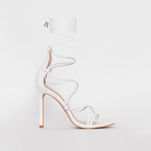 Miah White Snake Print Strappy Lace Up Heels