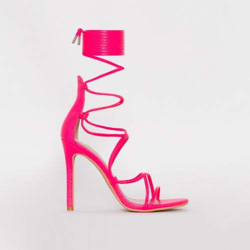 Miah Neon Pink Snake Print Strappy Lace Up Heels
