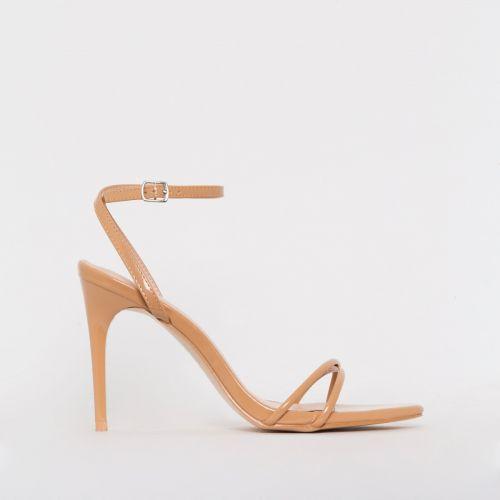 Drew Nude Patent Strappy Heels