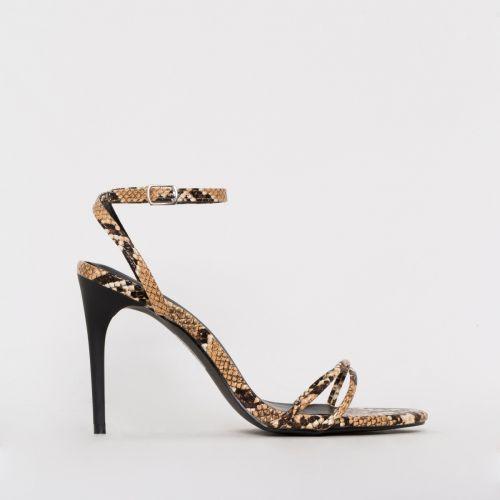 Drew Beige Snake Print Strappy Heels