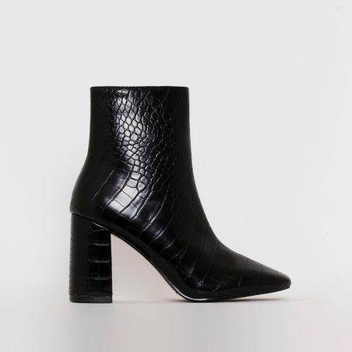 Sara Black Croc Print Mid Block Heel Ankle Boots