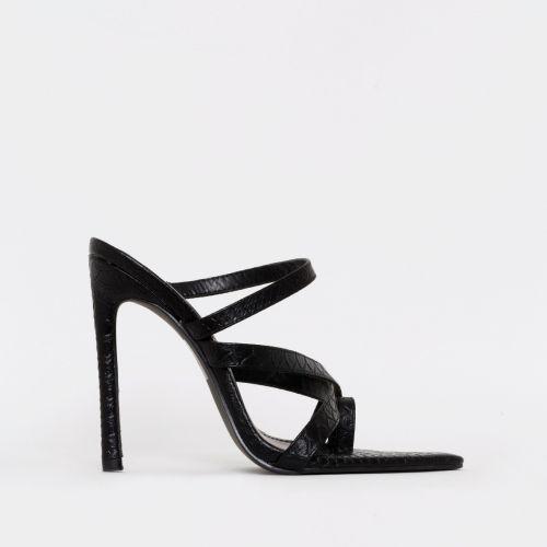 Kika Black Snake Print Strappy Mule Heels