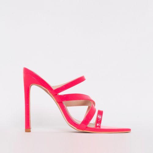 Kika Pink Patent Python Print Strappy Mule Heels