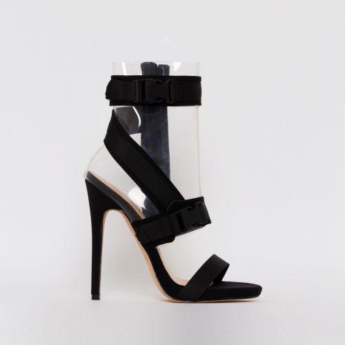 Atlanta Black Lycra Clear Buckle Stiletto Heels