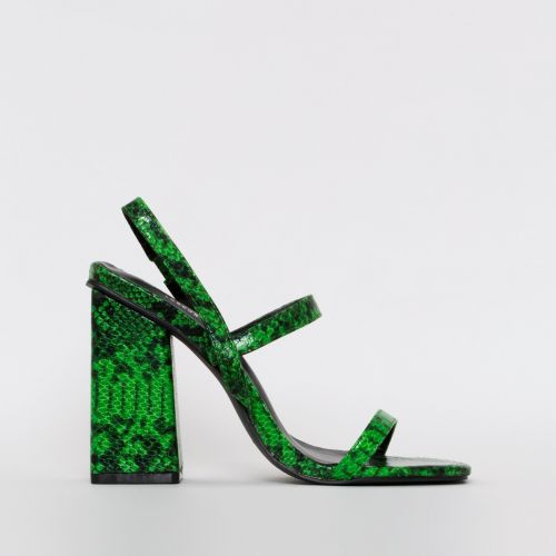 Jamma Green Snake Print Strappy Flare Block Heels