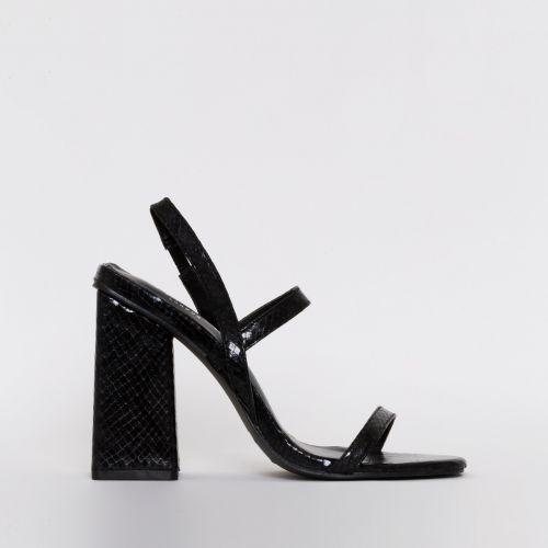 Jamma Black Snake Print Strappy Flare Block Heels