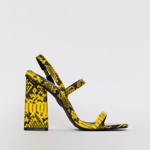 Jamma Yellow Snake Print Strappy Flare Block Heels