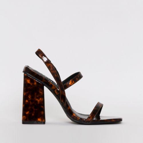 Jamma Tortoiseshell Print Strappy Flare Block Heels