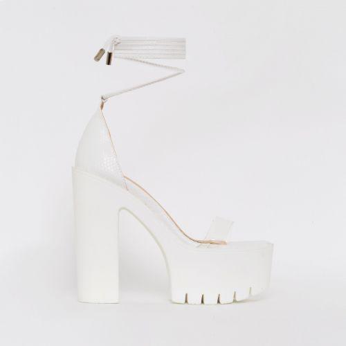 Geri White Snake Print Clear Chunky Platform Heels