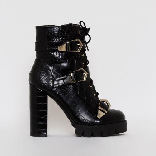 Jodie Black Croc Print Buckle Platform Ankle Boots