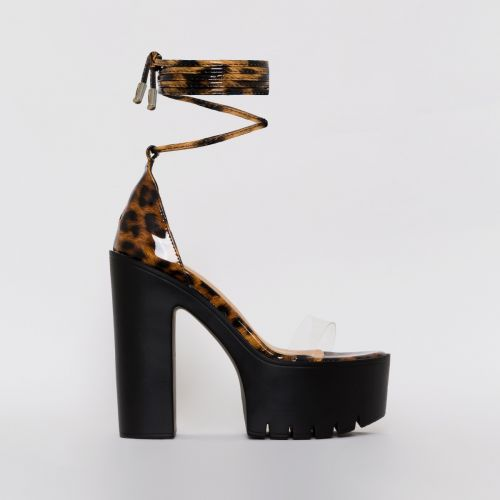 Geri Patent Leopard Print Clear Chunky Platform Heels