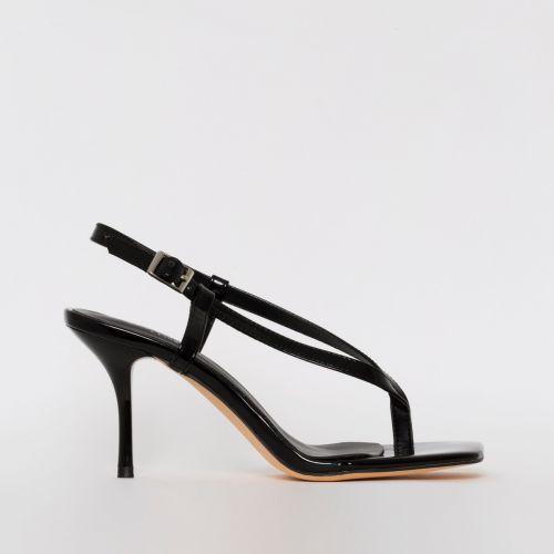 Estelle Black Patent Toe Thong Mid Stiletto Heels