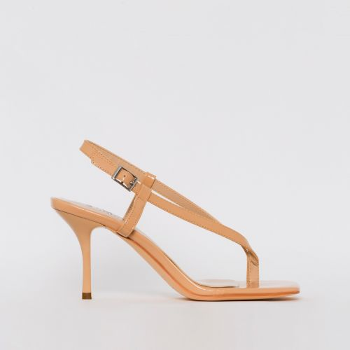 Estelle Nude Patent Toe Thong Mid Stiletto Heels