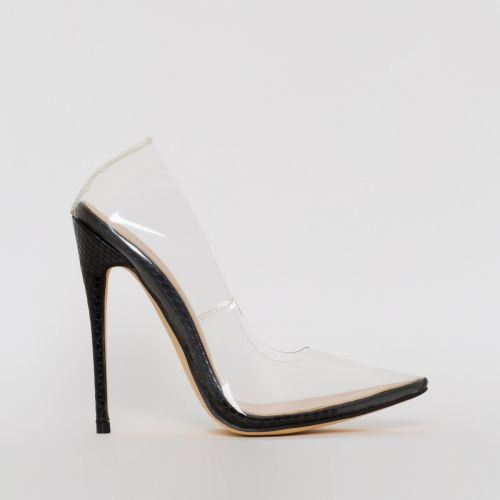 Simone Black Snake Print Clear Stiletto Court Shoes