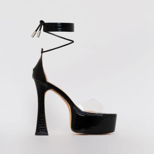 Emma Black Patent Croc Print Platform Heels