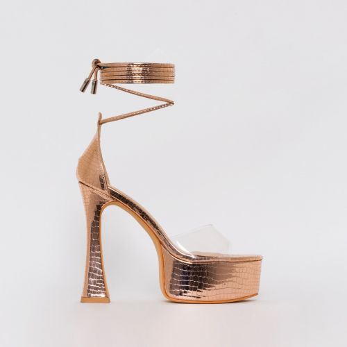 Emma Rose Gold Croc Print Platform Heels