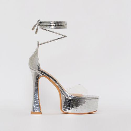 Emma Silver Croc Print Platform Heels