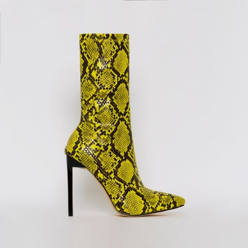 Lucinda Yellow Snake Print Stiletto Ankle Boots