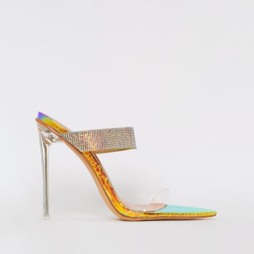 Dominique Rose Iridescent Snake Diamante Mules