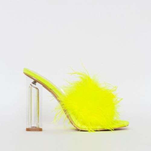 Clarisse Yellow Fluffy Clear Block Heel Mules