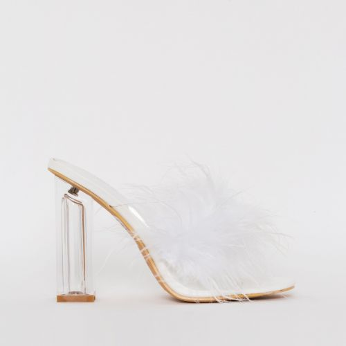 Clarisse White Fluffy Clear Block Heel Mules