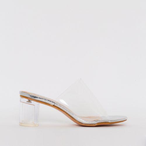 Chloe Silver Snake Print Clear Mid Block Heel Mules