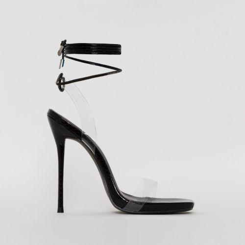 Solange Black Snake Print Clear Lace Up Stiletto Heels