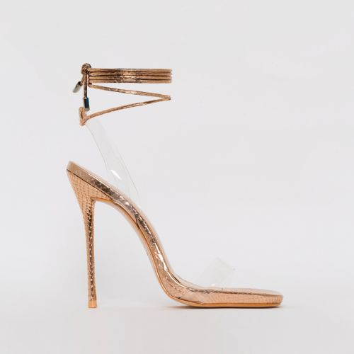 Solange Rose Gold Snake Print Clear Lace Up Stiletto Heels