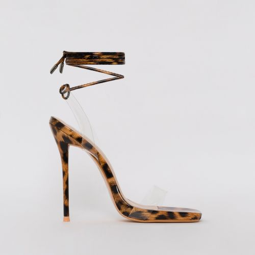 Solange Leopard Print Clear Lace Up Stiletto Heels