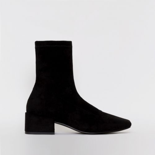 Zenya Black Suede Flat Ankle Boots