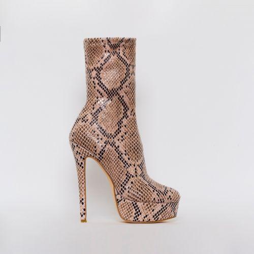 Skyla Beige Snake Print Platform Ankle Boots
