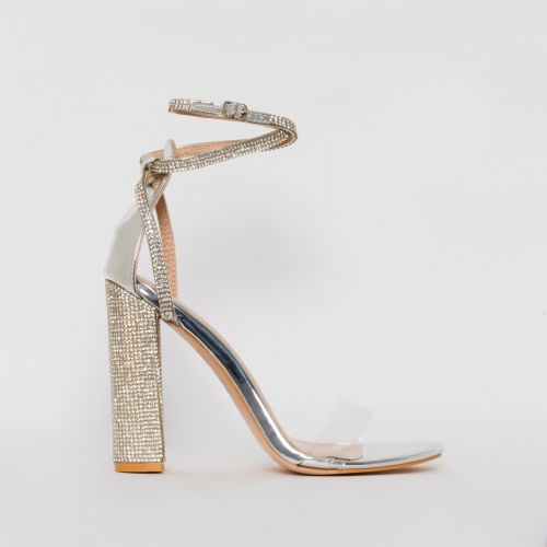 Felicia Silver Clear Diamante Block Heels