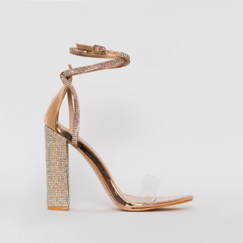 Felicia Rose Gold Clear Diamante Block Heels