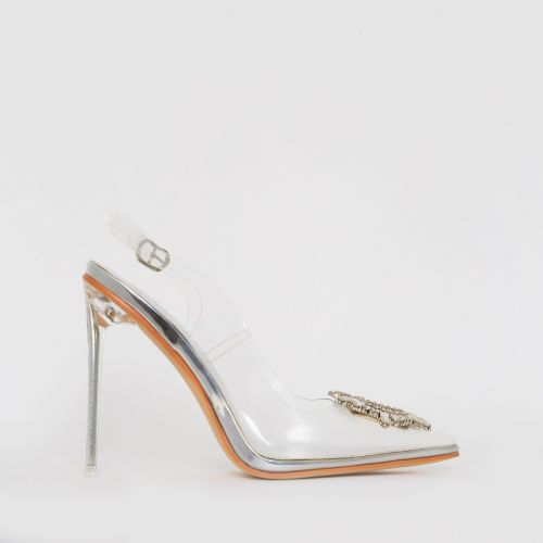 Elsa Silver Clear Jewel Slingback Court Shoes