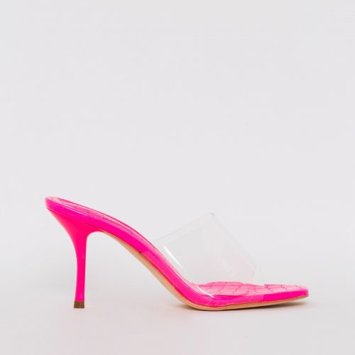 Elise Hot Pink Croc Print Clear Mid Heel Mules