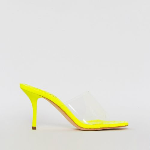 Elise Yellow Croc Print Clear Mid Heel Mules