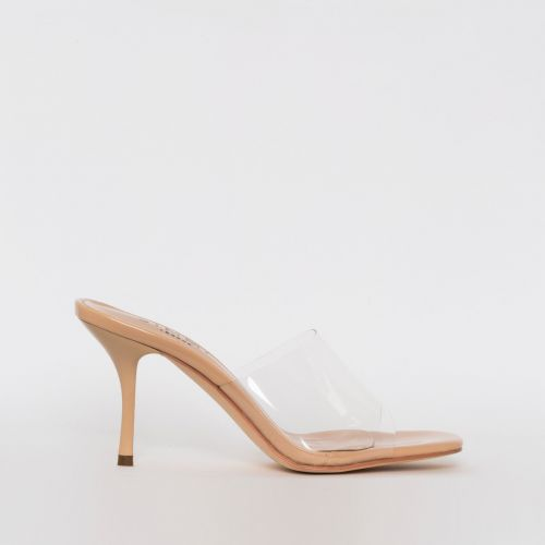 Elise Nude Patent Clear Mid Heel Mules