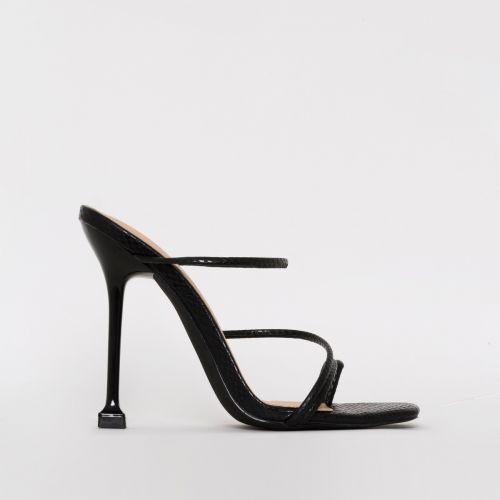 Mariana Black Snake Print Strappy Mule Heels