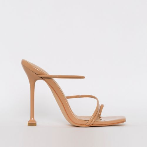 Mariana Nude Patent Strappy Mule Heels