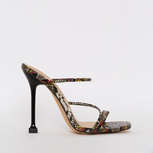 Mariana Multi Snake Print Strappy Mule Heels