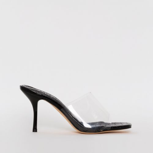 Elise Black Croc Print Clear Mid Heel Mules