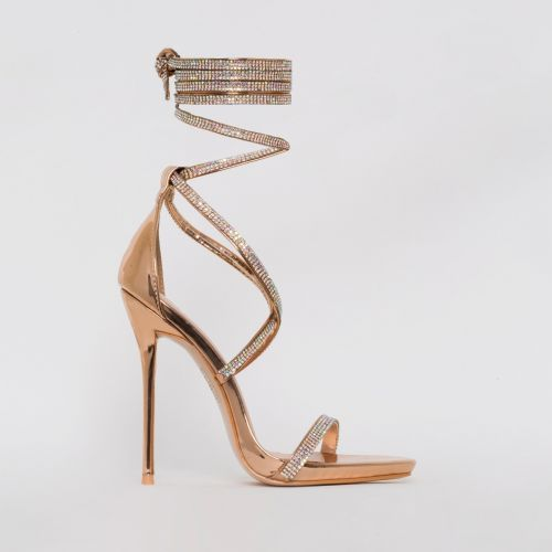 Ivory Rose Gold Lace Up Diamante Heels