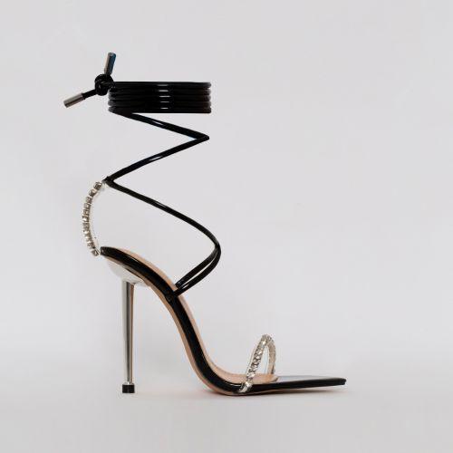 Felicity Black Patent Clear Diamante Lace Up Stiletto Heels