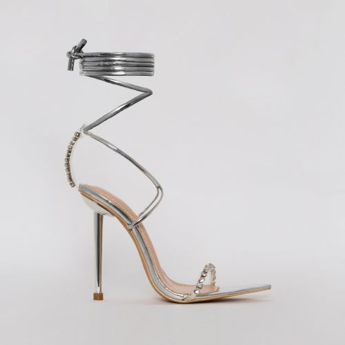 Felicity Silver Clear Diamante Lace Up Stiletto Heels