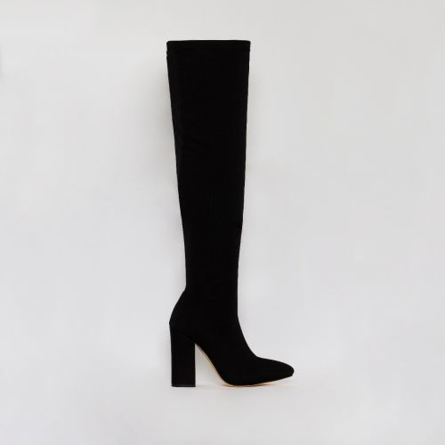 Erin Black Stretch Thigh High Block Heel Boots
