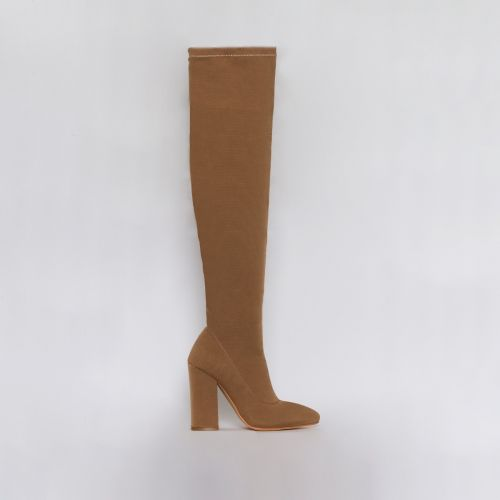Erin Dark Beige Stretch Thigh High Block Heel Boots