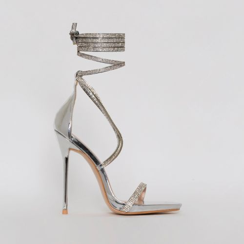 Ivory Silver Lace Up Diamante Heels