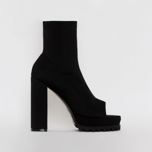 Lila Black Lycra Peep Toe Platform Boots