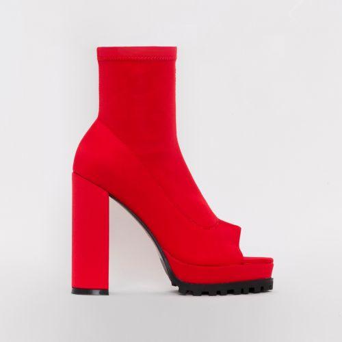 Lila Red Lycra Peep Toe Platform Boots