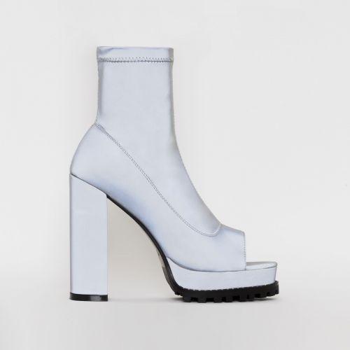 Lila Grey Reflective Peep Toe Platform Boots
